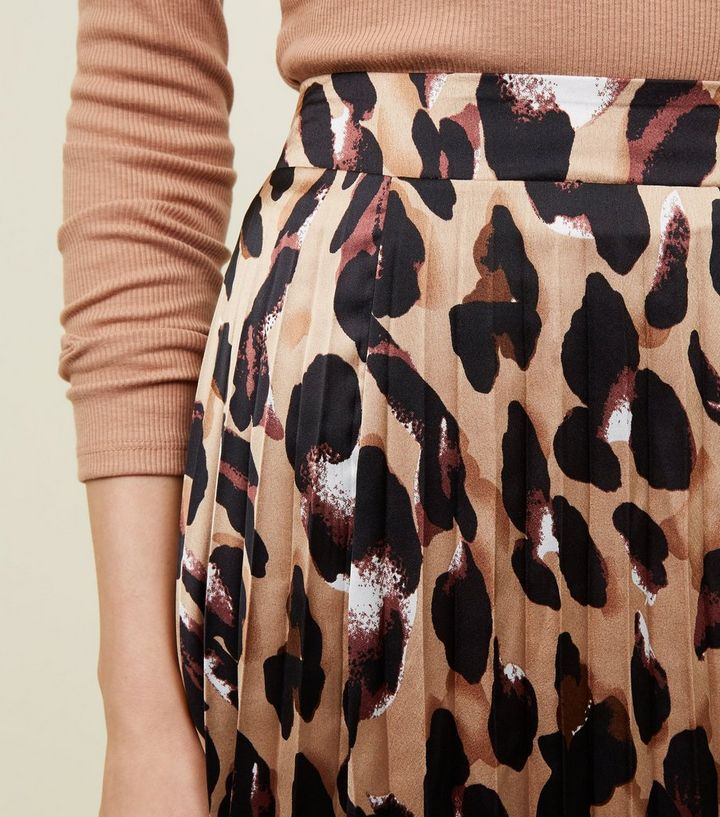 shopping price remains stable 60% discount Brown Leopard Print Pleated Satin Midi Skirt Add to Saved Items Remove from  Saved Items
