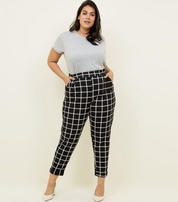 Curves Black Grid Check Pull On Scuba Trousers
