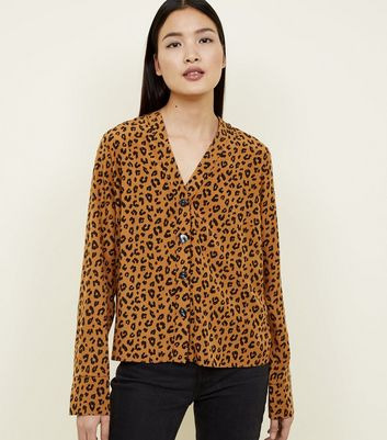 Tall Brown Leopard Print V-Neck Shirt