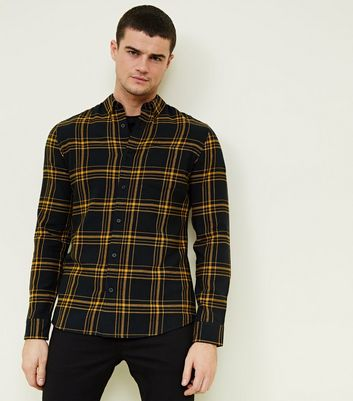 Yellow Long Sleeve Check Cotton Shirt