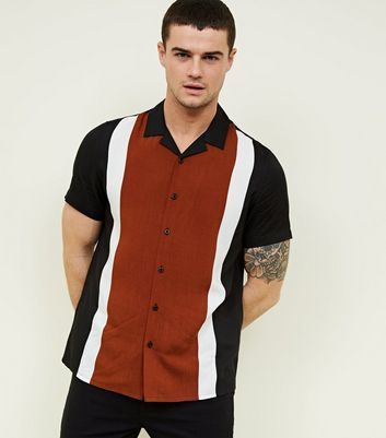 Black Stripe Front Short Sleeve Shirt