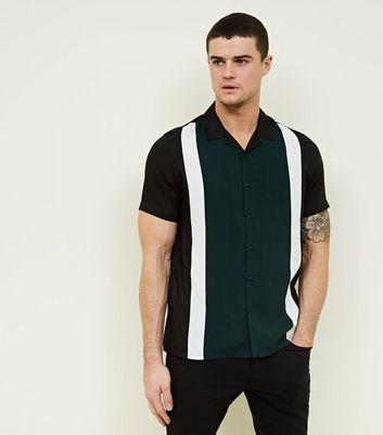 Dark Green Stripe Short Sleeve Shirt