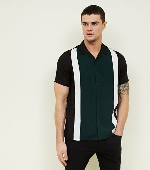 29ba030e135 ... Dark Green Stripe Short Sleeve Shirt ...