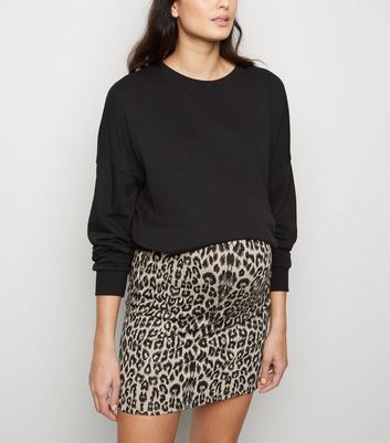 Maternity Black Leopard Print Tube Skirt