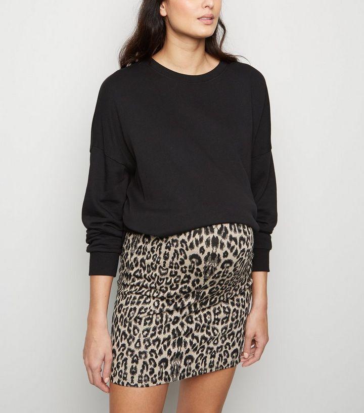 e195cbc7517 Maternity Black Leopard Print Tube Skirt