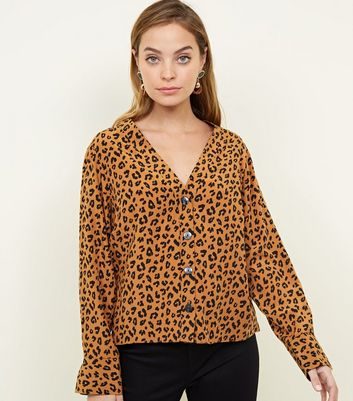 Petite Brown Leopard Print V Neck Shirt