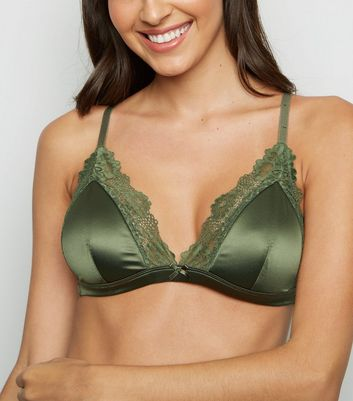 Khaki Satin Padded Triangle Bra