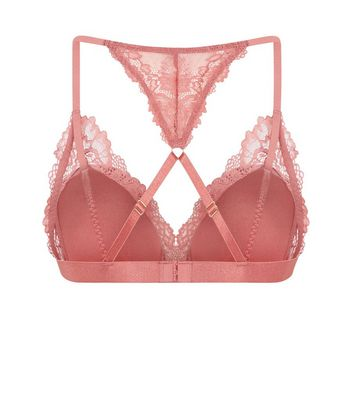 Coral Satin Padded Triangle Bra New Look
