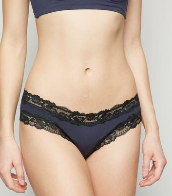 Navy Lace Trim Brazilian Briefs