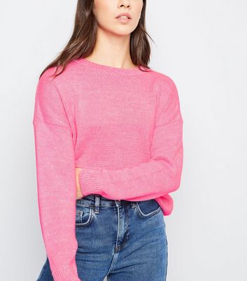 Bright Pink Neon Twist Slouchy Jumper