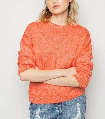 Bright Orange Neon Twist Slouchy Jumper