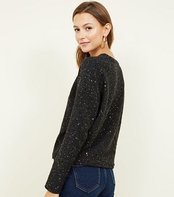 Black Fine Knit Gold Sequin Boxy Top New Look