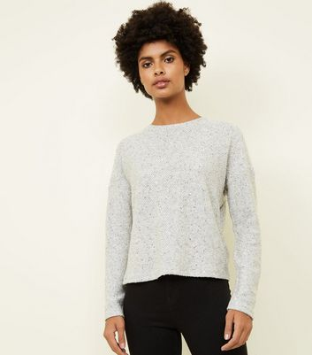 Pale Grey Sequin Fine Knit Boxy Top
