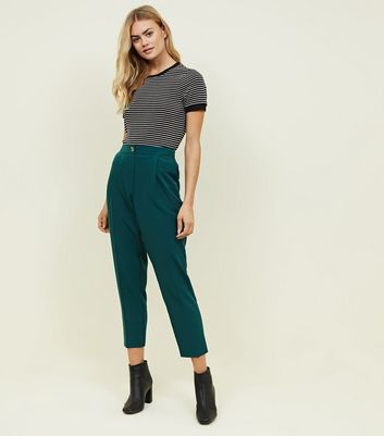 Dark Green High Waist Tapered Trousers