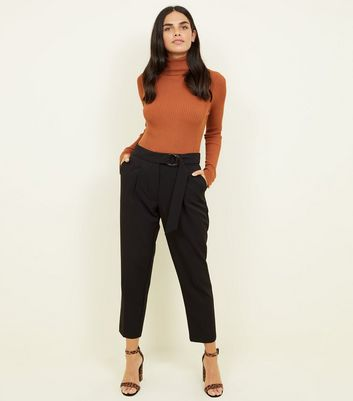 Black Double Buckle Belted Trousers