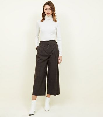 Brown Check Button Front D-Ring Cropped Trousers