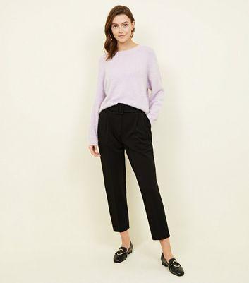 Black Belted Twill Slim Leg Trousers