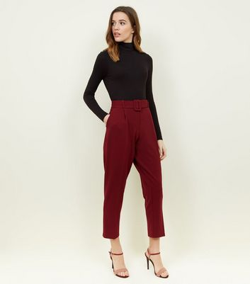 Burgundy Belted Twill Slim Leg Trousers