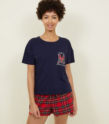 Red Tartan Mornings Slogan Flannel Pyjama Set