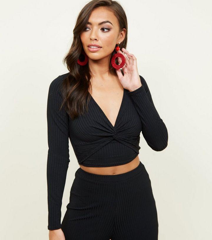 31a2503ea5f Black Ribbed Long Sleeve Crop Top   New Look