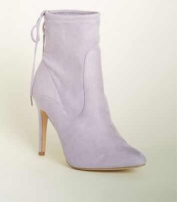 Wide Fit Lilac Stiletto Sock Boots