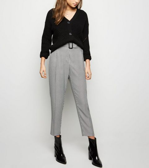 4488d78b2f3 Black Houndstooth Check Belted Trousers · Black Houndstooth Check Belted  Trousers ...