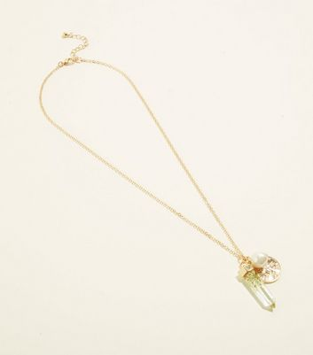 Gold Trapped Flower Shard Charm Pendant Necklace