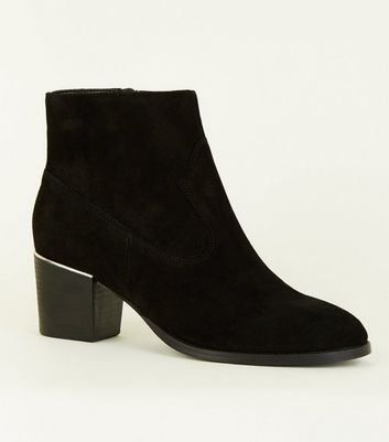 Black Suede Metal Trim Western Boots by New Look