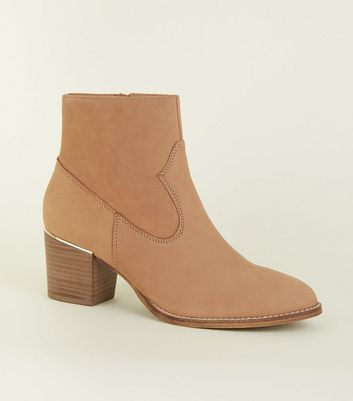 Camel Suede Metal Trim Western Boots