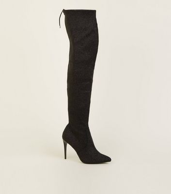 Black Glitter Stiletto Heel Over the Knee Boots