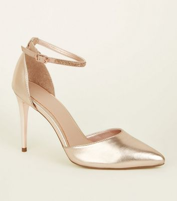 Rose Gold Diamanté Strap Court Heels