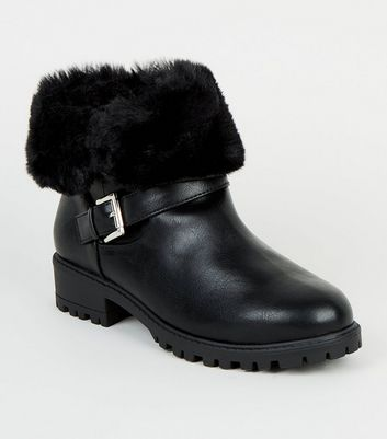 Girls Black Teddy Faux Fur Cuff Ankle Boots