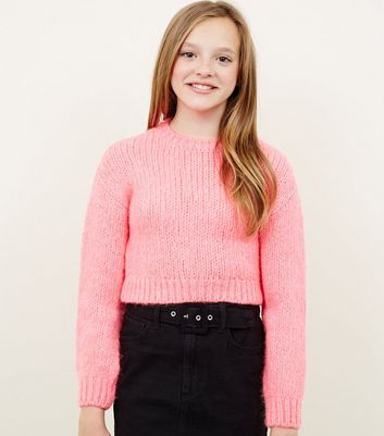 Girls Neon Pink Chunky Knit Jumper