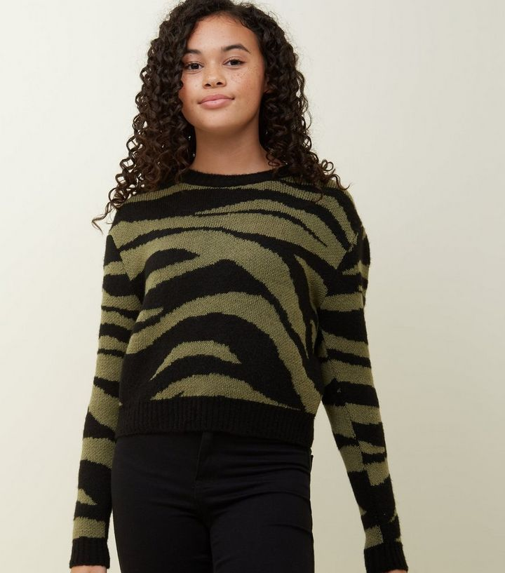 99719287497aa Girls Green Zebra Print Jumper Add to Saved Items Remove from Saved Items
