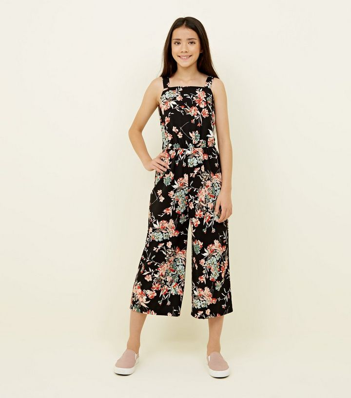 04bae5fba03 Girls Black Floral Square Neck Jumpsuit