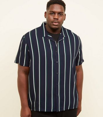 Plus Size Navy Revere Collar Green Stripe Shirt