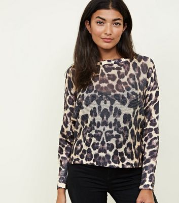 Cameo Rose Brown Leopard Print Fine Knit Jumper