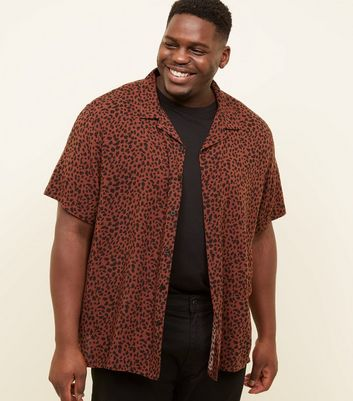 Plus Sized Rust Leopard Print Reveer Collared Shirt