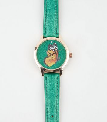 Green Butterfly Face Analogue Watch