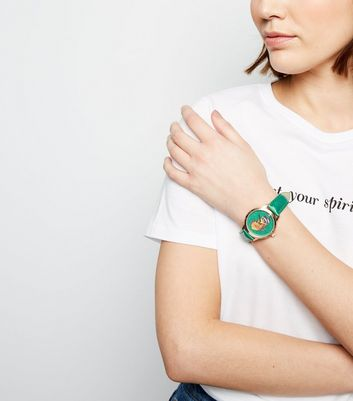 Green Butterfly Face Analogue Watch New Look