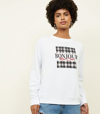 White Bonjour Check Box Sweatshirt
