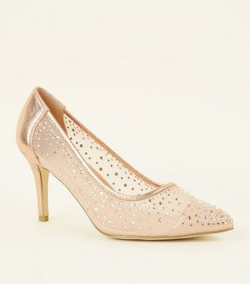 Wide Fit Rose Gold Gem Embellished Mesh Courts