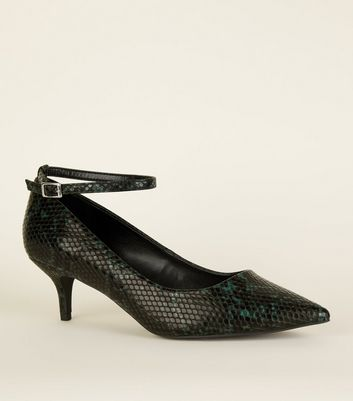 Wide Fit Green Faux Snakeskin Kitten Heels