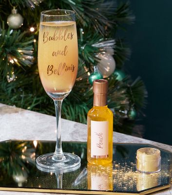 Clear Bubble And Bellini Slogan Prosecco Glass Set by New Look