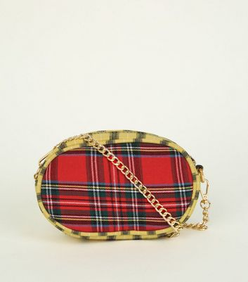 Red Mixed Check Cross Body Bag