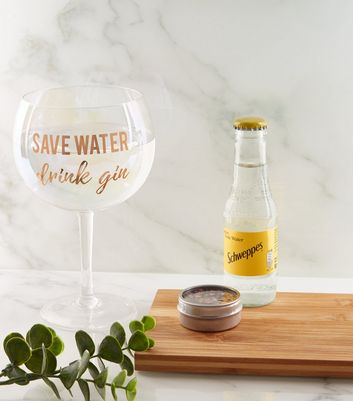 Clear Slogan Gin Glass and Schweppes Tonic Set