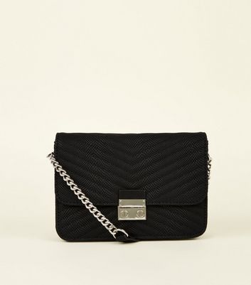 Black Quilted Chain Strap Shoulder Bag