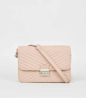 Nude Quilted Chain Strap Shoulder Bag