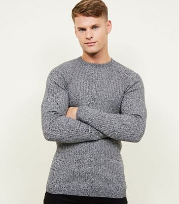 Grey Muscle Fit Long Sleeve Ribbed Jumper