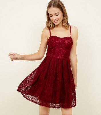 Cameo Rose Burgundy Lace Bustier Dress